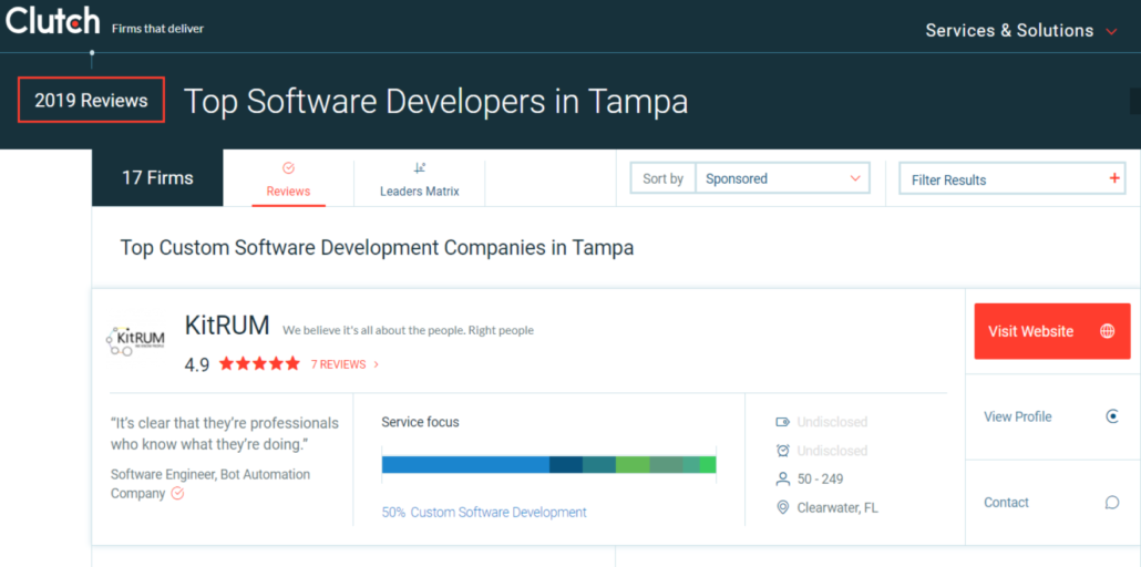 KitRUM has been rated as a leading custom software development