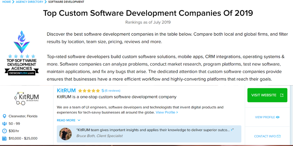 KitRUM is one of the Top Software Development Companies in 2019