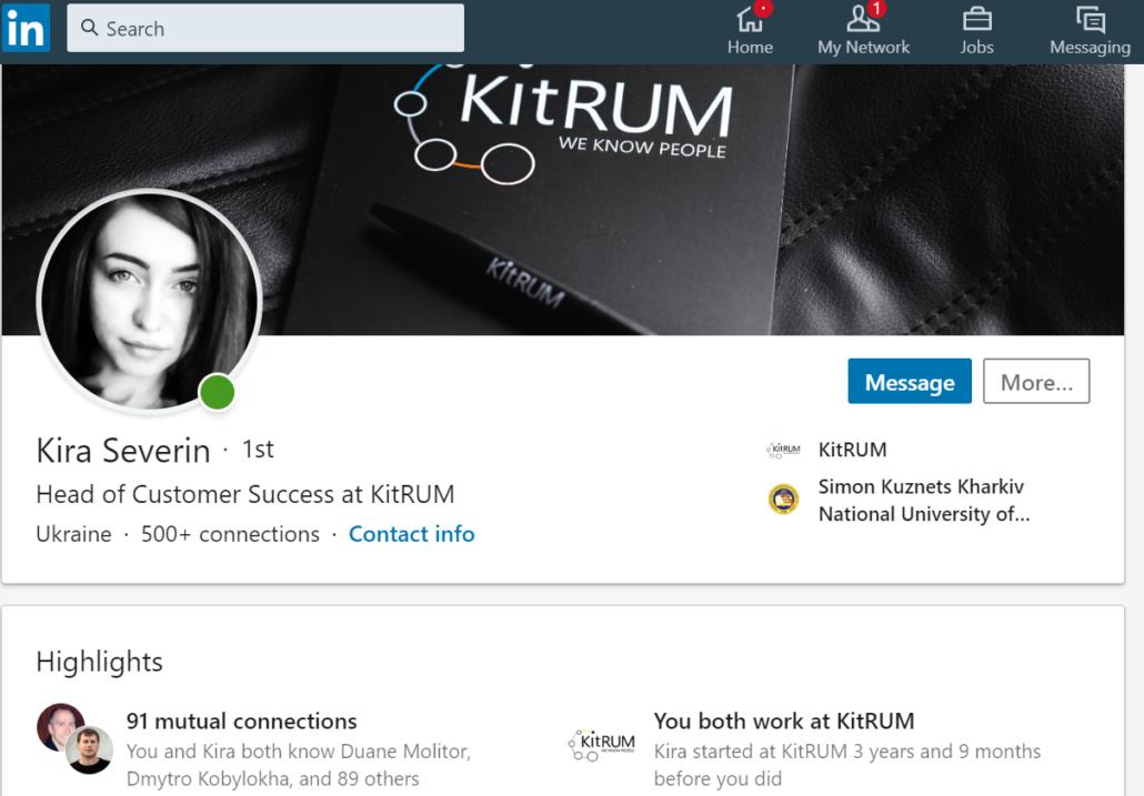User profile on LinkedIn