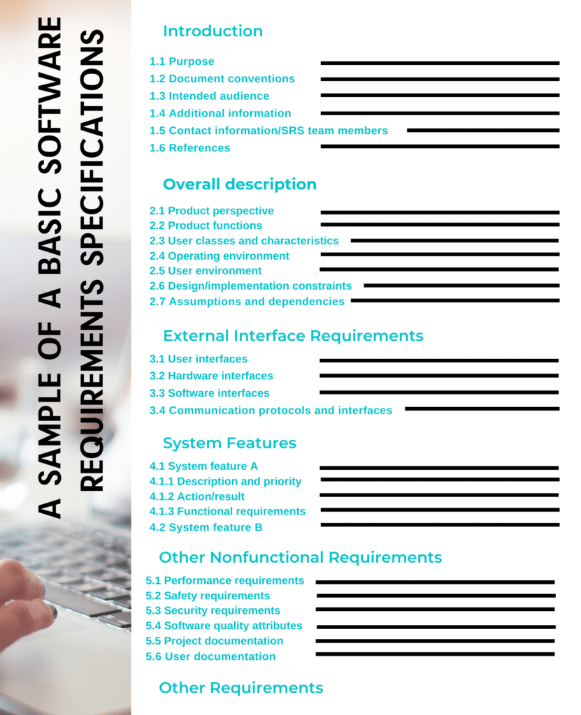 A sample of a basic Software Requirements Specifications